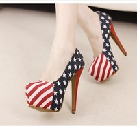 Free/drop shipping, 2012 platform pumps, fashion flag, mixed colors, party, sexy high heels shoes women