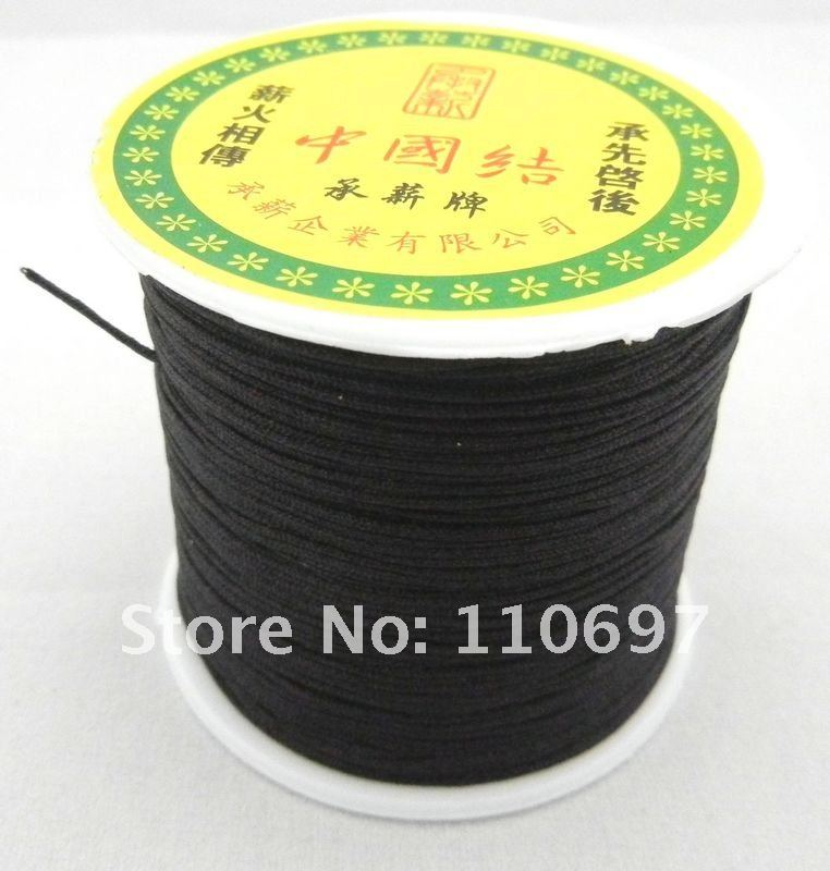 Free P&P  Wholesale 100M/Roll 1MM BLACK Braided Nylon Chinese Knot Cord Beading String Jewelry Making Kniting Findings