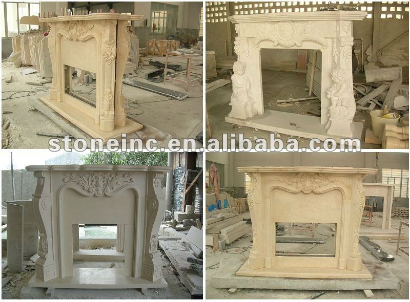elegant white granite fireplace