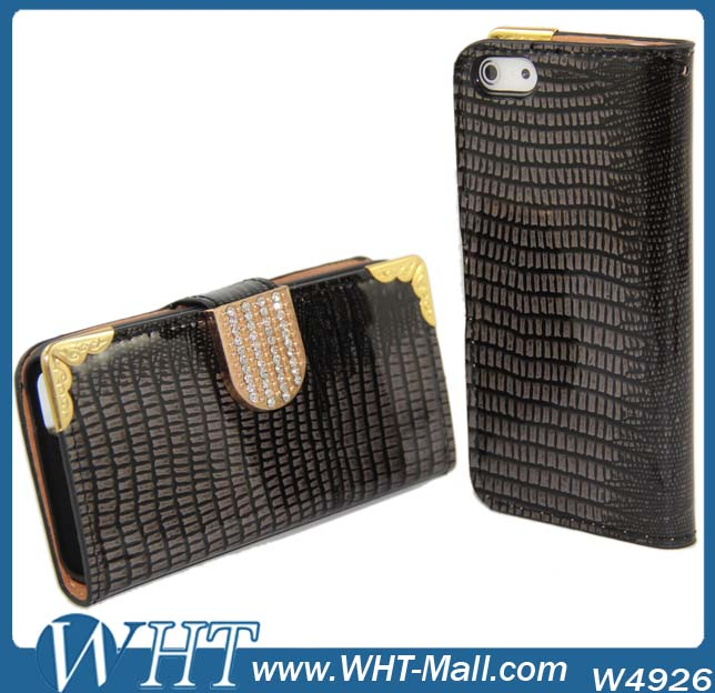 Luxury Bling Wallet Leather Cases Accept Small Mix Order For iPhone 5 Case Cover Cell Phone Case