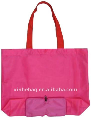 folding Polyester shopping bag with pocket (xh-nl00061)