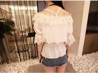 Женские блузки и Рубашки Women Fashion Slash Neck Short Sleeve Handmade Lace Beading Decor Floral Slim Waist Chiffon Shirt A402B-Q7848