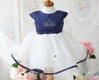 RoyalBlue princess dress/ Baby girl crown dress/ Girl short-sleeved ball gown