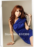 2013 New Fashion Women Flower Dress One Shoulder off Sexy Wrinkle Mini Chiffon Dress #D006