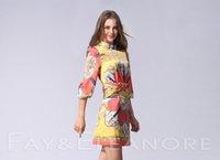 2012 National Style Fashion ladies Printing Pattern 3/4 Sleeve Silk Dress/Ladies' Mini Fashion Dresses/Free Drop Shipping!GF040