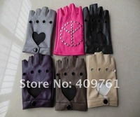 Женские перчатки из кожи 2012 black fashion lambskin leather half finger gloves, fingerless leather gloves, best price and offer OEM service