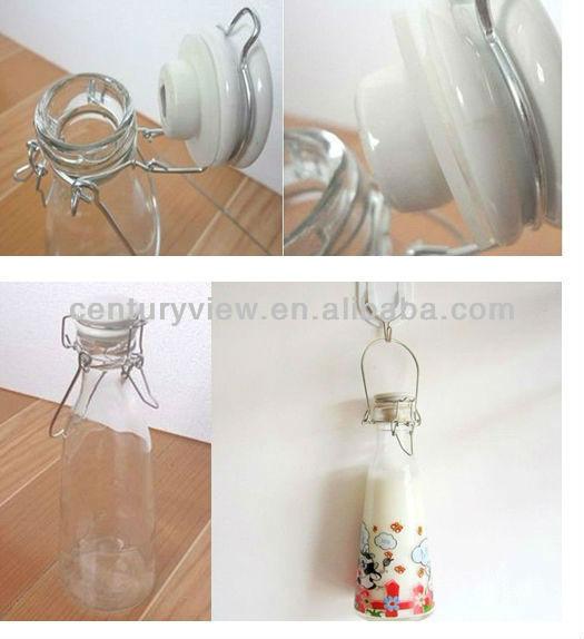clip ceramic cap 500ml 1 litre glass milk bottle