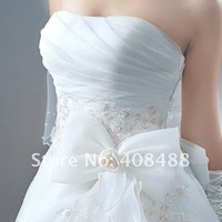 Свадебное платье High-grade Thick satin Embroidery Lace Before and after Bow Wedding dress
