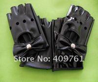 2012 black fashion lambskin leather half finger gloves,fingerless leather gloves, best price and offer OEM service