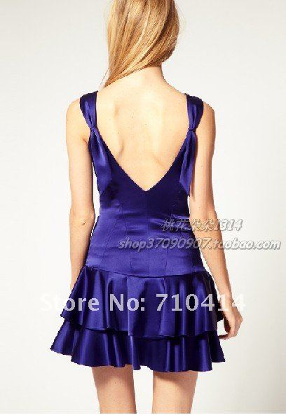 Free Shipping Brand KM blue v-back short evening dress/party dress