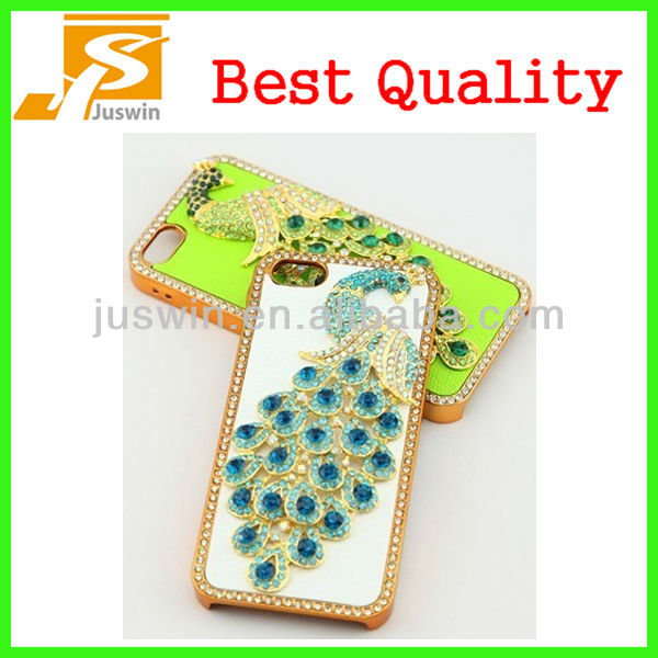 Luxury Leather 3d bling diamond Crystal Case Handmade Peacock for iPhone 5 5G 5C 5S
