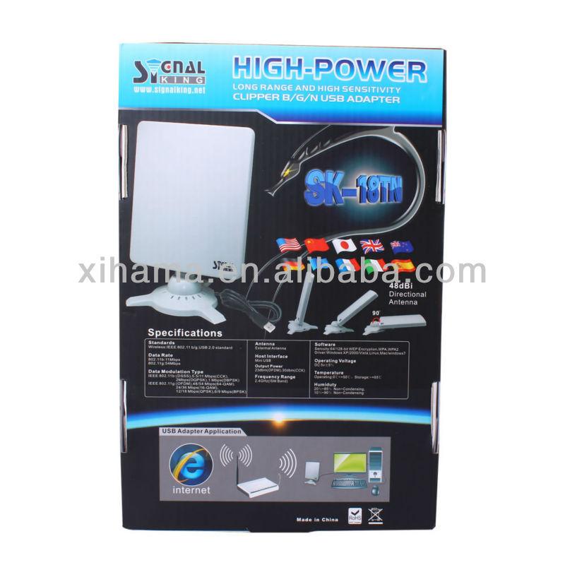 2012 Newest Signal King 18TN Wireless Booster Adaptador Wifi Hack USB Adapter 48dbi Flat Panel Antenna