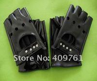 Женские перчатки из кожи 2012 black fashion lambskin leather half finger gloves, fingerless leather gloves, best price and offer OEM service