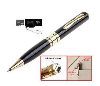 Free shipping,Mini Pen Dvr 4GB card  Pen Camera 1280 x 960 High Resolution gold and silver colors can choose