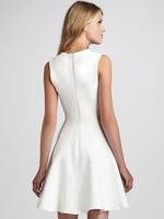 Одежда и Аксессуары It Girl A-line White Dress Jersey Flare Party Dress Tank Sleeveless O-neck Zipper Princess Ruffels Women Brand Casual Dresses