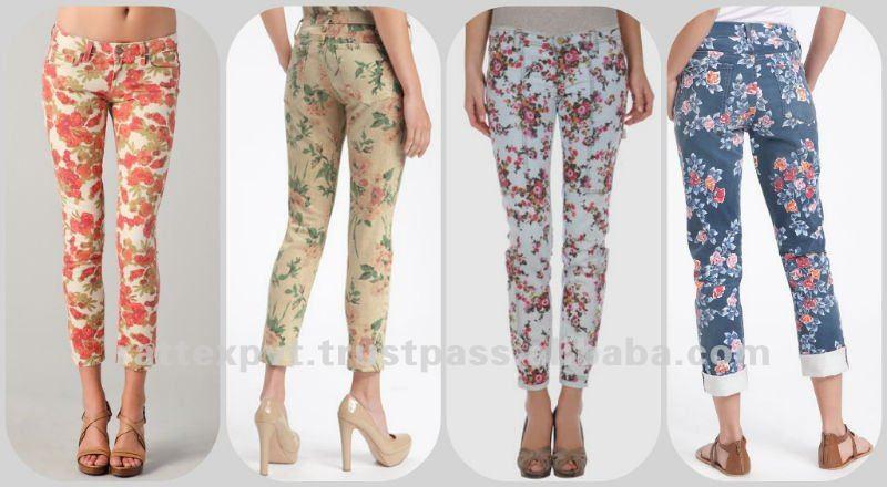 Flower Printed Jeans Flower Printed Fashion Denim
