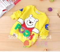 Футболка для девочки t-shirt cartoon Winnie the Pooh long sleeve children t-shirt cartoon long-sleeved t-shirt