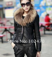 Женская одежда из кожи и замши Women's jacket Long hair Natural fur coat lades fashion Leather jacket red color