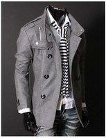 Мужская ветровка Hot Men's Jackets Double Platoon To Buckle LiLing Badges Dust Coat Male Coat Color:Black, Gray Size:M-L-XL-XXL C015