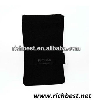 Mobile phone small drawstring velvet bag with logo