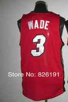 Мужская футболка для баскетбола Miami #3 Wade jersey, Embroidery logos men's basketball jerseys, Size44-56