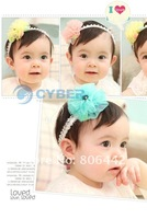Детский аксессуар для волос New Baby Lovely Cute Colorful Toddler Girl Lace Flower Bow Clip Pin Hair Band Headband 3 Colors 7021