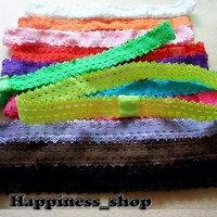 Детский аксессуар для волос 120pcs/lot 13Colors elastic hair accessory headband Baby lace flexible Shimmery Shimmer Satin Stretchy