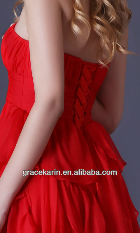 Grace Karin Short Front Long Back Cocktail Dress 2014 Red Strapless Party dresses CL3517