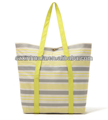 (XHF-SHOPPING-212)Yellow and white stripes dual purpose foldable waterproof shopping bag