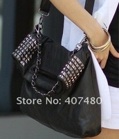 Сумка artficial leather Fashion Handbag Tote Designer Lady brand girl shoulder bag sling rivet shiny punk leisure fashion