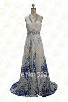 Печать fabirc бисером и ol101971 вечерние платья Холтер складки 100% ручная работа