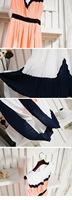 Женское платье women's clothing set girl color block pleated sleeveless chiffon one-piece dress woman full dress