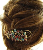 Retro Korean Fashion Rhinestone Peacock Hairband Hair Clip Headband