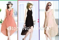 2013 Fashion New Womens Sexy Sleeveless Temperament Irregular Skirt Chiffon Long Dress Evening Leopard 6 colors Free Shipping