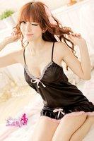 Женский эротический костюм Increase code appeal underwear nightdress soft satin flour side skirt with shoulder-straps