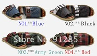 Free Shipping 2012 new men's sandals leather shoes  men slippers mens lazy shoes mens casual shoes loafers DENIM+cow leather