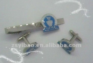 Promotional gifts Cuff link with customized plated siliver link pin badge
