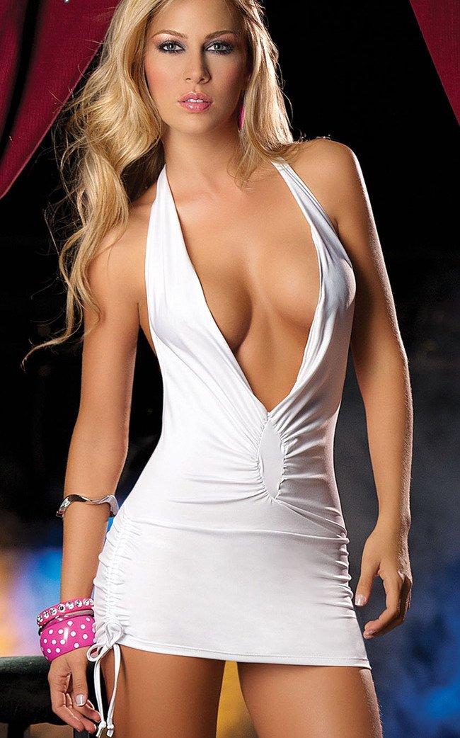 White Dress Low Cut White Low-cut Sexy Slim