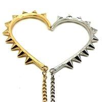 Spike Rivet Chain Drop Pyramid Ear Cuff Chic Gold And Silver Free Shipping, E1/085 (E179)