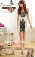 Women's dress Korean fashion sexy package hip texture lace wrinkle Dress Free Shipping 3032