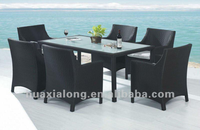 mobiliario de jardim em rattan sintetico:rattan conjunto de jantar com mesa quadrada top e almofadas / para