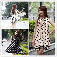 Женское платье loose and comfortable dot pattern sleeveless tank neck dress, 3colors, retail
