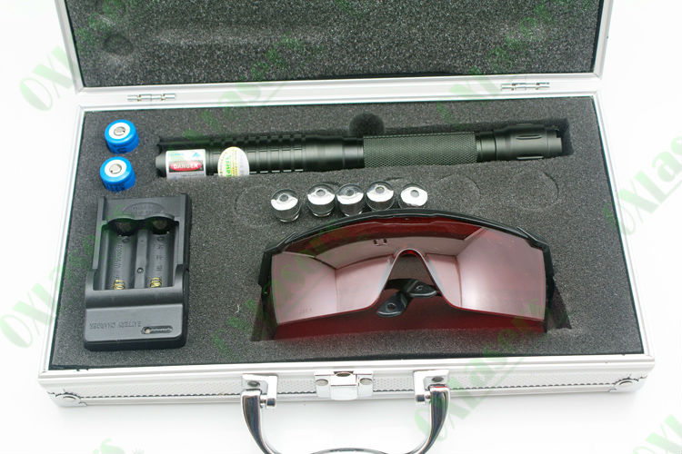 OXLasers OX-BX5 aluminium boxed handheld 3000mW/3W 447nm-450nm focusable burning blue laser pointer with 5 pattern heads
