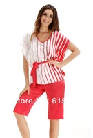 Silk pajamas home furnishing lady suit simple leisure short-sleeved pants two pcs in one set red coffee color sleepwear SW066