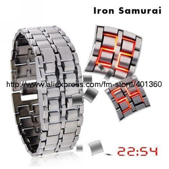 Mulan'S 200pcs/lot opp bag packing RED light Digital watch LED Watch Iron Samurai Watch ,RED/Blue FREE SHIPPING