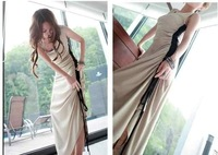 Free Shipping 2013 fashion dresses summer Sexy Slim Side drawstring vest women casual dress harness long Wholesale Retail