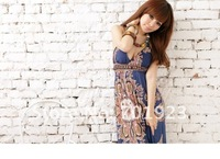 Holiday Sale Free Shipping [ Wholesale & Retail ] Fashion Bohemian Printed V neck Maxi Dress Beach Summer Long Dress Y3220