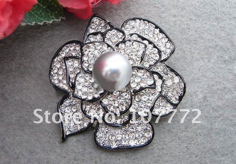 Потрясающие! 14 мм серый жемчуг и горный хрусталь цветок брошь + бесплатный SHIPPMENT