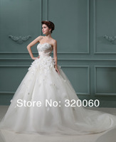 Hot Sale 2012 Custom Made Sweetheart Ball Gown Dresses Tulle Train Ivory/White Wedding Dress Bridal Gowns