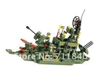 Free Shipping!Wange 040329 Educational DIY Warship,Particles building plastic Block Bricks Toys,Educational toys for children